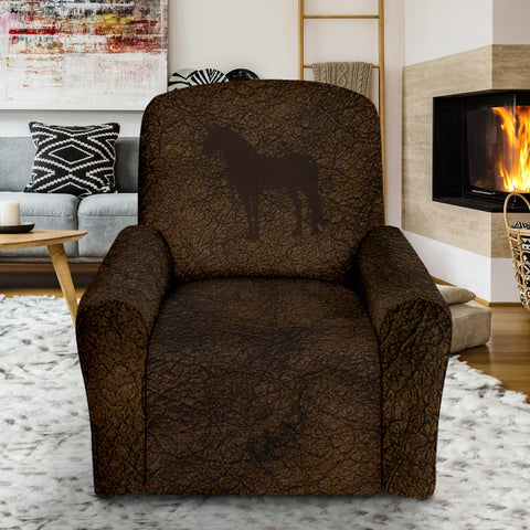 Distressed Leather Unicorn Recliner Chair Cover