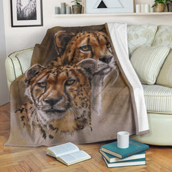 Gorgeous Cheetah Fleece Blanket - Khaki, Beige, Brown TV Blanket - Exclusively Licensed Artwork - 3 Sizes - Youth, Large, X-Large