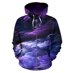 Cosmic Purple Universe Zip Up Hoodie for Men, Women and Children
