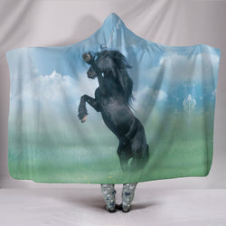 Black Stallion Hooded Blanket - Light Blue, Mint Green and Black TV Blanket - Exclusive Artwork - Youth and Adult Sizes
