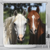 White and Bay Friends Horse Shower Curtain