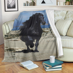 Gorgeous Black Friesian Horse on Beach Fleece Blanket – Blue TV Blanket- Exclusively Licensed Artwork - 3 Sizes - Youth, Large, X-Large