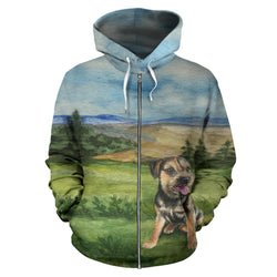 Silli Watercolor Zip Up Hoodies for Women, Men and Kids - Black and Tan Border Terrier Dog on Green and Blue Hoodie