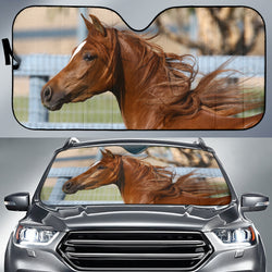 Chestnut Arab Horse Sunshade for Car Windshield