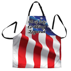 Mens American Flag Patriotic 4th of July Grilling Legend - Custom Apron – Red, White and Blue Apron - BBQ Apron - One Size Fits All