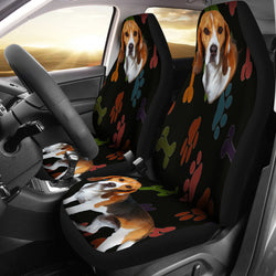 Adorable Beagle Car Seat Cover - Black with Multicolor Paws - Fits Most Bucket Seats - Easy to Install