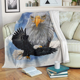 Gorgeous Bald Eagle Fleece Blanket - Black, White and Blue Rectangular TV Blanket - Exclusively Licensed Artwork – 3 Sizes - S L XL