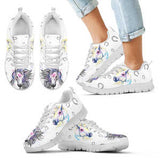 Artistic Kid's Watercolor Horse Sneakers - Sketcher Shoes Style with Multicolor Horses on a White Shoe with White Sole
