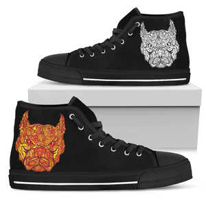 Women's Mosaic Pit Bull High Top Sneakers - Converse High Tops Style Black Shoe with Striking Red Pit Bull and  Black Sole