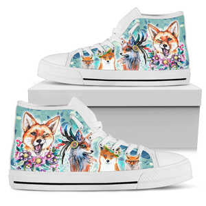 Women's Watercolor Fox High Top Shoes