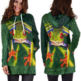Striking Women's Frog Hoodie Sweatshirt Dress - Green - Exclusively Licensed Artwork - Wide Range of Sizes