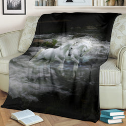 White Horses in the Dark Fleece Blanket - Black and White TV Blanket - Exclusively Licensed Artwork - 3 Sizes - Youth, Large, X-Large