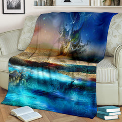 Under Water Shipwreck Fleece Blanket - Blue and Beige TV Blanket - Exclusively Licensed Artwork - 3 Sizes - Youth, Large, X-Large