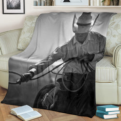 Cowboy Western Horse Roping Fleece Blanket - Gray and White TV Blanket - Exclusively Licensed Artwork - 3 Sizes - Youth, Large, X-Large