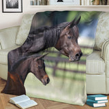 Bay Arab Mother and Baby Horse Fleece Blanket - Brown and Green TV Blanket - Exclusively Licensed Artwork - 3 Sizes - Youth, Large, X-Large