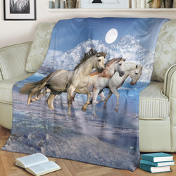 Three Mystical White Horses with the Moon Fleece Blanket – TV Blanket - Exclusively Licensed Artwork - 3 Sizes - Youth, Large, X-Large