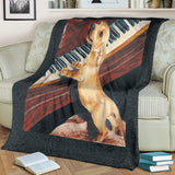 Adorable Dachshund Dog Playing Piano Fleece Blanket - Khaki, Black, Brown TV Blanket - Exclusively Licensed Artwork - 3 Sizes - S L XL