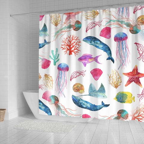Watercolor Ocean Shower Curtain with Whales Fish Starfish and Jellyfish