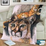 Mountain Lion Cougar Fleece Blanket - Gray, White and Brown TV Blanket - Exclusively Licensed Artwork - 3 Sizes - Youth, Large, X-Large