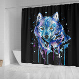 Watercolor Wolf Shower Curtain