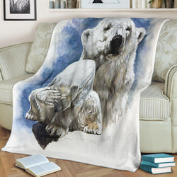 Magnificent Polar Bear Fleece Blanket - Blue and White TV Blanket - Exclusively Licensed Artwork - 3 Sizes - Youth, Large, X-Large