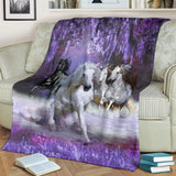 Mystical White and Black Horses Running Fleece Blanket - Purple TV Blanket - Exclusively Licensed Artwork - 3 Sizes - Youth, Large, X-Large