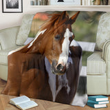 Chestnut and White Paint Horse Looking Fleece Blanket - Brown White and Green TV Blanket - Exclusively Licensed Artwork - 3 Sizes - S L XL
