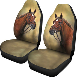 3-Day Ready Chestnut Horse Car Seat Covers - Brown and Green - Easy to Install