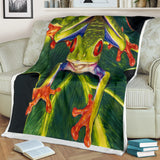 Vibrant Tree Frog Fleece Blanket - Green, Orange and Red TV Blanket - Exclusively Licensed Artwork - 3 Sizes - Youth, Large, X-Large
