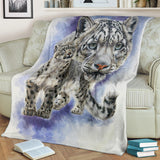 White Leopard Fleece Blanket - Black, White and Blue TV Blanket - Exclusively Licensed Artwork - 3 Sizes - Youth, Large, X-Large