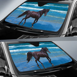 Black Beauty on the Beach Horse Sunshade for Car Windshield