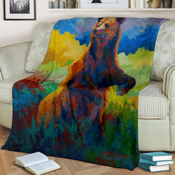 Whats Up Grizzly Bear Fleece Blanket - Brown Blue and Green TV Blanket - Exclusively Licensed Artwork - 3 Sizes - Youth, Large, X-Large
