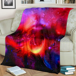 Fiery Planet Universe Fleece Blanket - Pink Red and Black TV Blanket - Exclusively Licensed Artwork - 3 Sizes - Youth, Large, X-Large
