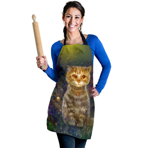 Magic Flower Kitty Cat Custom Apron - Green Beige and Blue Designer Apron - Exclusively Licensed Artwork - One Size Fits All