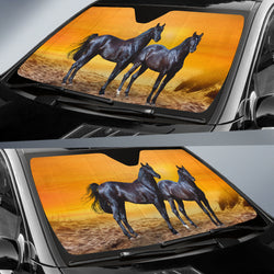 Fiery Arabian Sunset Horse Sunshade for Car Windshield