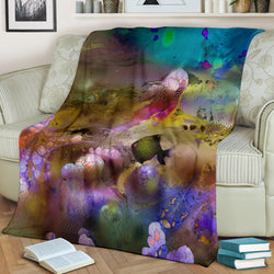 Magical Dolphin and Fish Coral Reef Fleece Blanket - Beige Blue and Purple TV Blanket - Exclusively Licensed Artwork - 3 Sizes - S L XL