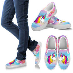 We love these Adorable Pink and Blue Unicorn Vans Slip On Style Shoes for Women - Pink Vans Shoes (White Sole).