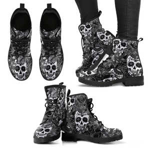Sugar Skull Black & White Women's Handcrafted Premium Boots V2