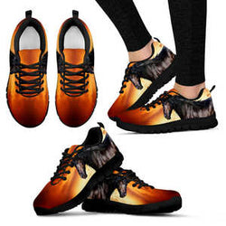 Womens Striking Black Stallion Horse Sneakers - Sketcher Shoes Style with Black Horses on a Red Gold and Black Shoe