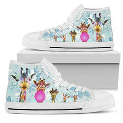 Women's Watercolor Giraffe High Top Sneakers