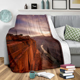 Southwestern River Gorge Fleece Blanket - Rust and Purple TV Blanket - Exclusively Licensed Artwork - 3 Sizes - Youth, Large, X-Large