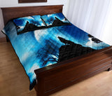 Wolf Howling At Moon Blue Quilt Bed Set