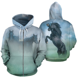 Friesian in the Mist Zip-Up Horse Hoodie - Hooded Sweatshirt with Exclusively Licensed Image - for Men Women and Children