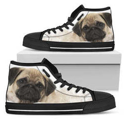 Women's Pug High Top Sneakers - Converse High Tops Style Shoe with Black Sole