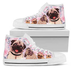Women's Adorable Pug High Top Sneakers - Converse High Tops Style Pink Shoe with White Sole