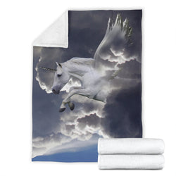 Unicorn Pegasus Flying in Clouds Fleece Blanket – Grey TV Blanket - Exclusively Licensed Artwork - 3 Sizes - Youth, Large, X-Large