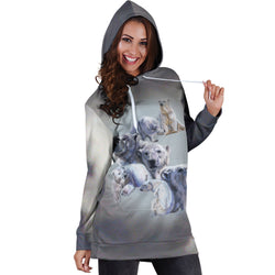 Gray Polar Bear Hoodie Dress
