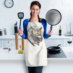 Great Horned Owl Custom Apron - Gray Black and Beige Designer Apron - Exclusively Licensed Artwork - For Men and Women - One Size Fits All