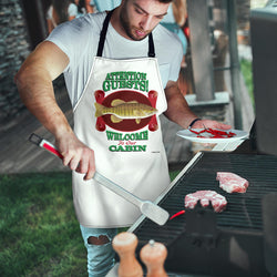 Mens Welcome to Our Cabin Custom Apron - Red and Green Fishing Apron - Exclusively Licensed Artwork - One Size Fits All