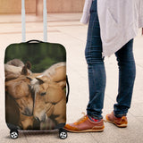Palomino Convention Luggage Cover - Green and Beige spandex luggage cover - Licensed Artwork from Bob Langrish - Small Medium and Large